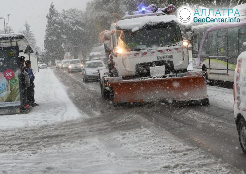 Снегопад во Франции, ноябрь 2019