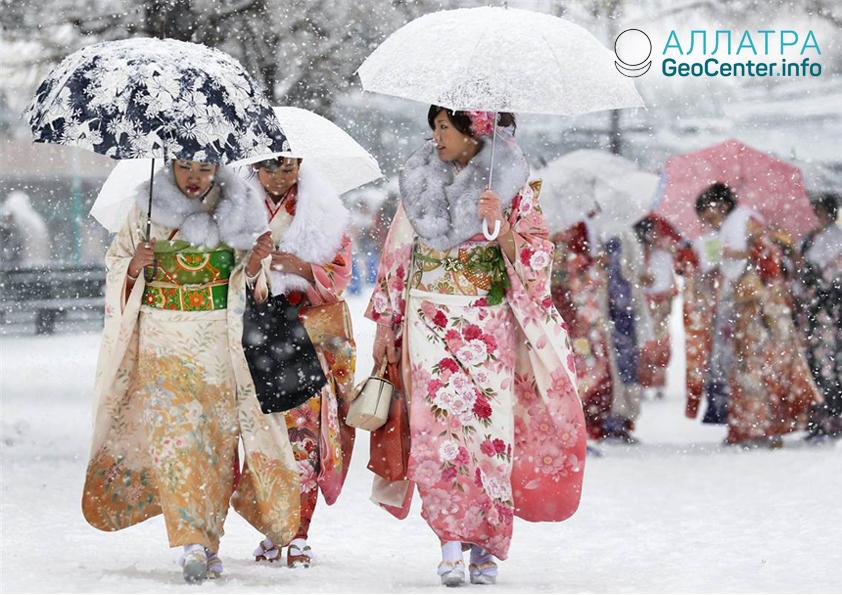 Sneženie v Japonsku, január 2019