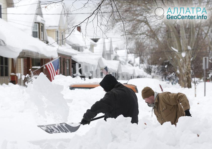 Снежный шторм в США, январь 2019
