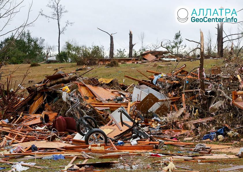 Торнадо и наводнения в США, январь 2020