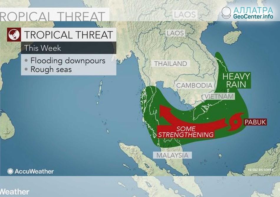 """Tropická búrka """"Pabuk"""", Thajsko, január 2019"""