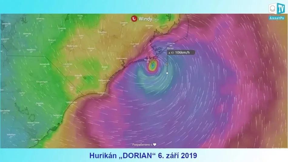 """Hurikán """"DORIAN"""". Mapa rychlosti větru ve formě znaku AllatRa? Pozorování. Zdržují se kataklyzmata?"""