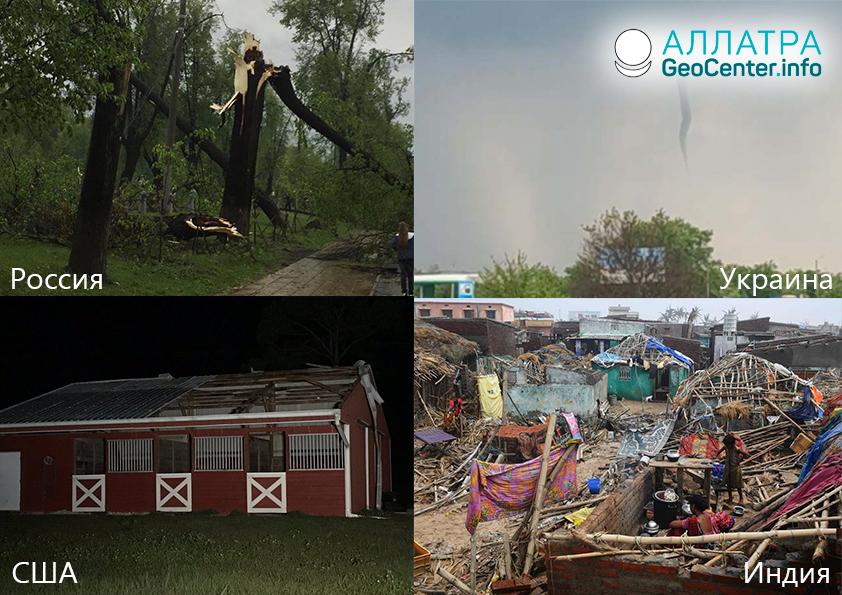Ураганы и торнадо, смерчи и шквалы в мире, 1-14 мая 2019