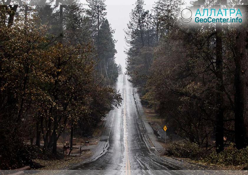 В Калифорнию пришли дожди, ноябрь 2018