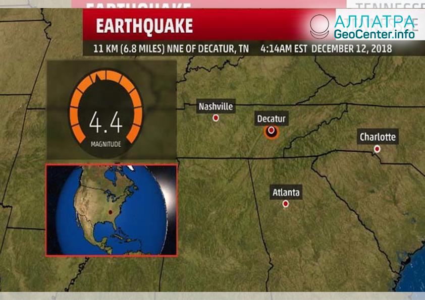 Землетрясение в нескольких штатах США, декабрь 2018