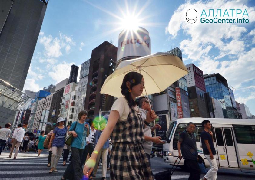 Жара в Японии, июнь 2019