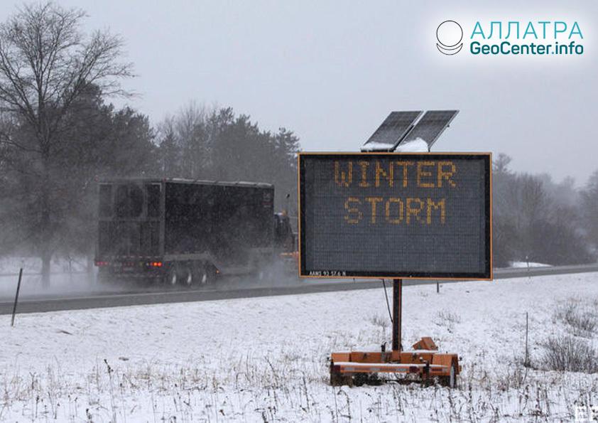 Зимний шторм в США, декабрь 2018