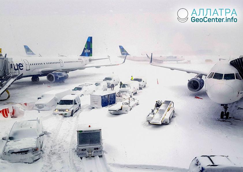 Зимний шторм в США, январь 2019