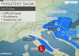 Сильный зимний шторм надвигается на страны Балканского полуострова