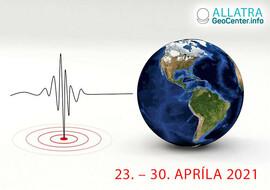 Silné zemetrasenia na planéte, 24. – 30. apríla 2021