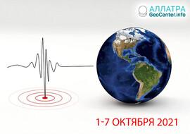 Волна землетрясений в первую неделю октября 2021