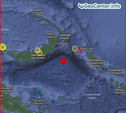Землетрясение магнитудой 5,9 в Соломоновом море, cентябрь 2017