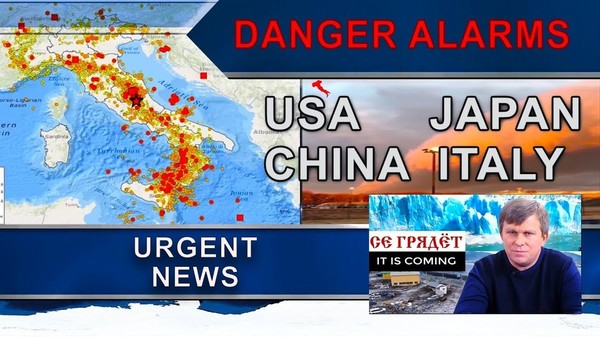 Breaking News. Danger alarms in USA, Japan, China, and Italy