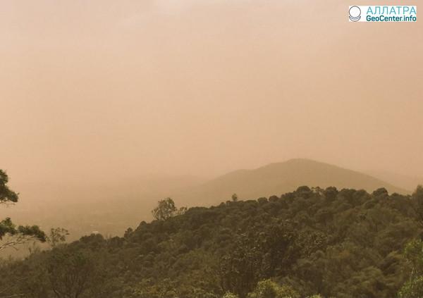 Песчаная буря в Канберре в середине марта 2018