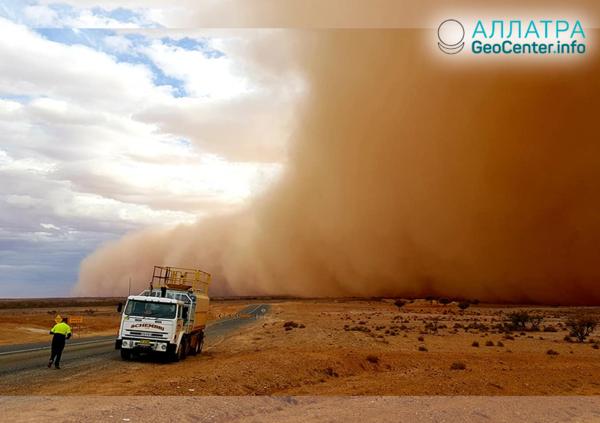 Песчаная буря, огромный град  и сильные ливни в Австралии, ноябрь 2018 г.