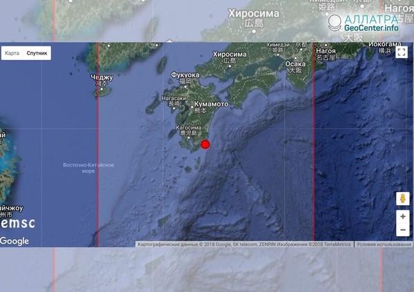 Землетрясение у берегов Японии, 11 июня 2018 г.