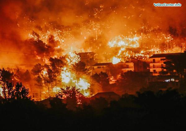 17 июля 2017 г. сильные лесные пожары в городе Сплит, Хорватия