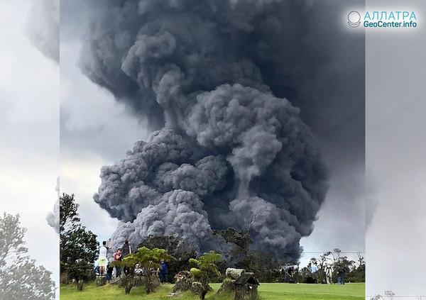 Новый пепловыброс на вулкане Килауэа (США), май 2018 г.