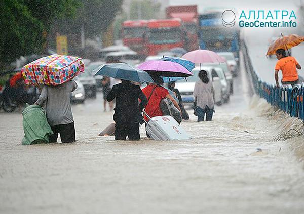 Тайфун в Китае, август 2018 г.