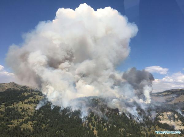 Лесной пожар в Йеллоустоуне 5-7 августа 2016