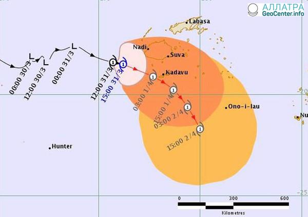 Тропический циклон «Джози» на Фиджи 1 апреля 2018 г.
