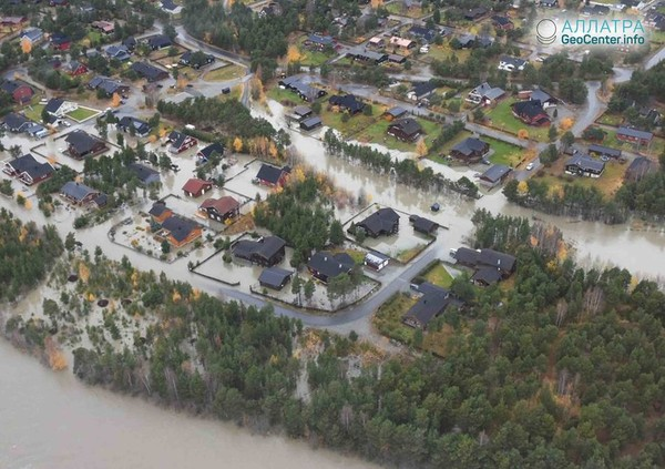 Масштабное наводнение в Норвегии, октябрь 2018 г.