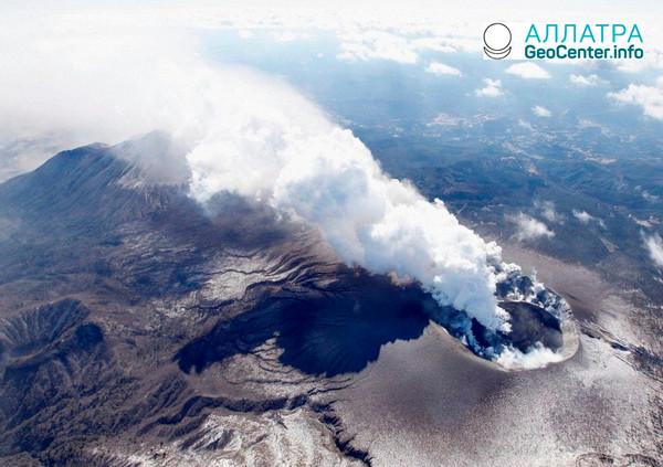 Повышение активности вулкана Ио в Японии, февраль 2018