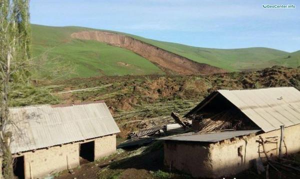 Землетрясение и сход оползня в Киргизии