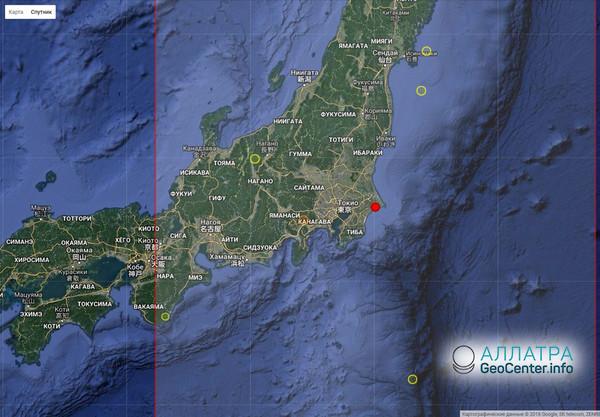 Землетрясение магнитудой 5.3 у побережья Японии, май 2018 г.