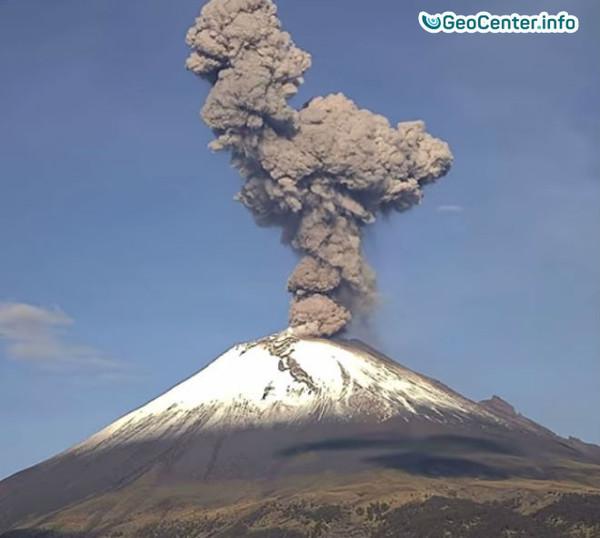 В Мексике взорвался  вулкан Попокатепетль, июль 2017 года