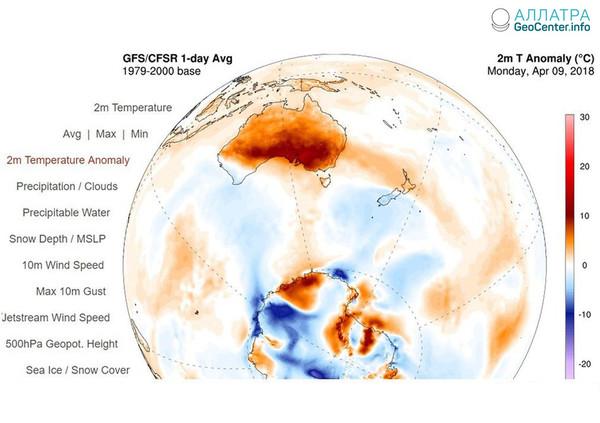 Температурные рекорды в Австралии, 9 апреля 2018 г.