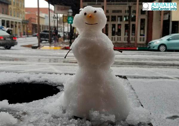 В Сакраменто пришла зима с градом, февраль 2018 г.