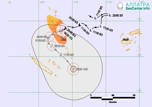 У берегов Вануату сформировался тропический циклон Хола, март 2018 года