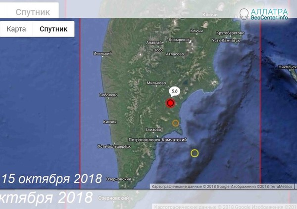 Очередное крупное землетрясение на Камчатке, октябрь 2018 г.