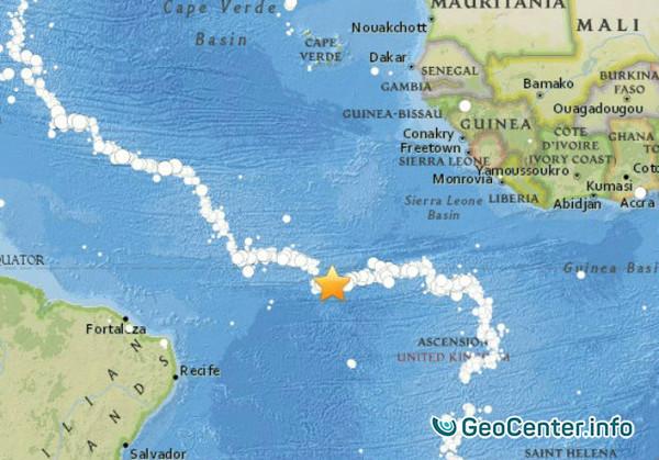 Землетрясение магнитудой 6,7 в Атлантическом океане, 30 ноября 2017