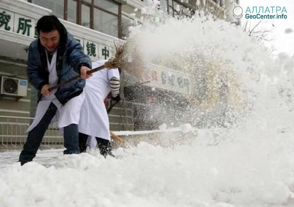 Северо-восток Китая в снегу, ноябрь 2018 года