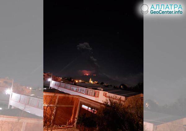 Активизация и извержение мексиканского вулкана Попокатепетль, март 2019.