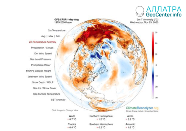 Аномалии погоды, ноябрь 2020