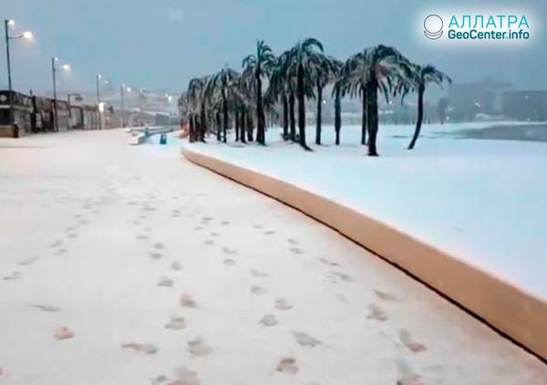 Аномальные холода и сильные снегопады охватили северо-запад Туниса, январь 2019