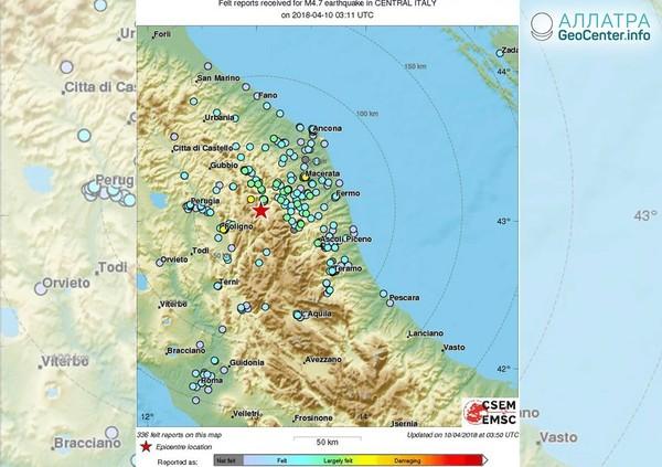 Землетрясение в Италии, 10-11 апреля 2018 года