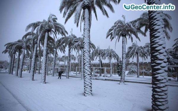 В Саудовской Аравии выпал снег. Снег в пустыне