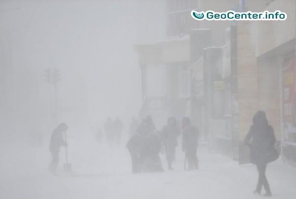 Снежный буран в Астане, Казахстан. Январь 2018 г.