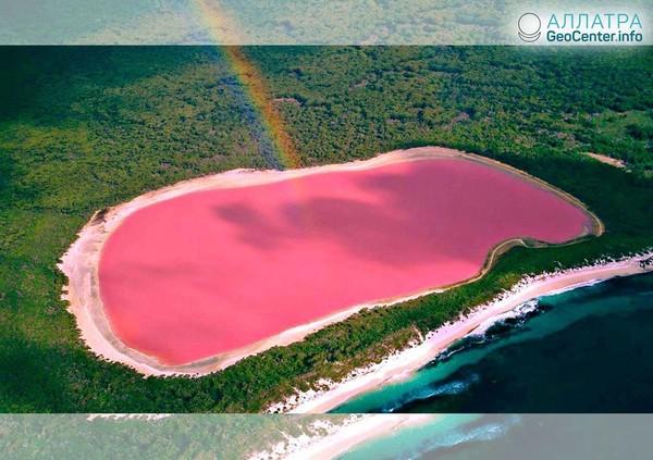 Завораживающее розовое озеро Хильер в Австралии, апрель 2018 года