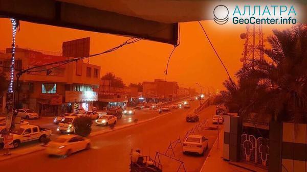 Песчаная буря на юге Ирака, май 2018 г.