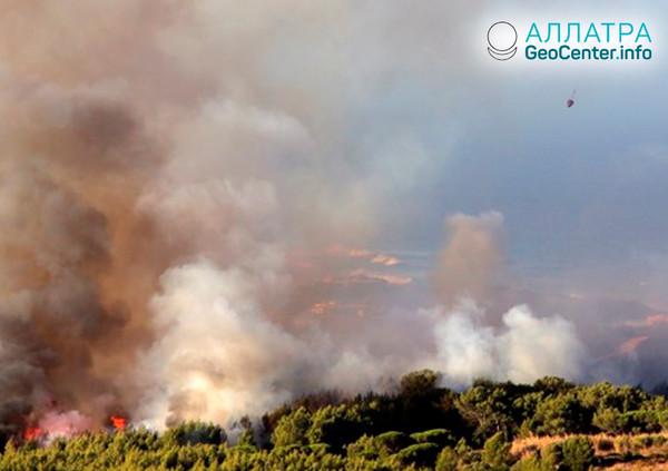Лесной пожар в Португалии, октябрь 2018
