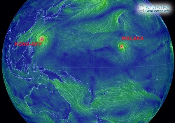 Два циклона 5 категории в Тихом океане, сентябрь 2018 г.