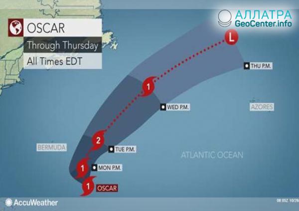 Тропический шторм «Оскар» приближается к Ирландии и Великобритании, октябрь 2018 г.