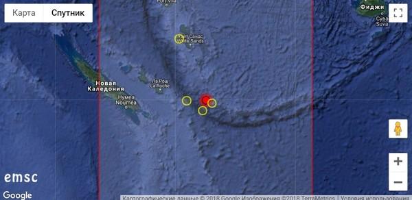 Мощное землетрясение у Новой Каледонии 29 августа 2018 г.