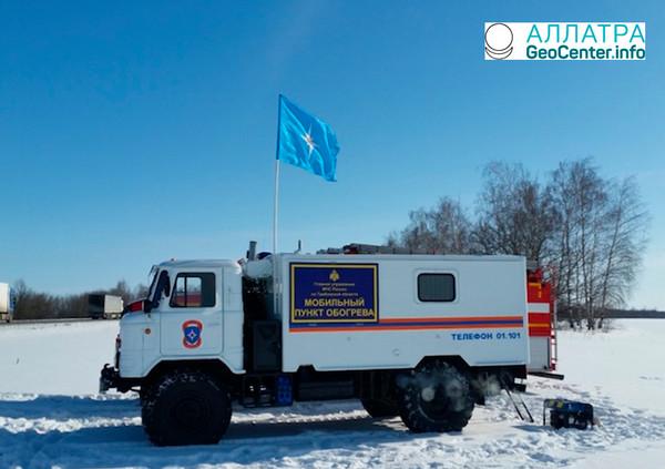 Мобильные пункты обогрева на трассах Вологодской и Тамбовской области, февраль 2018