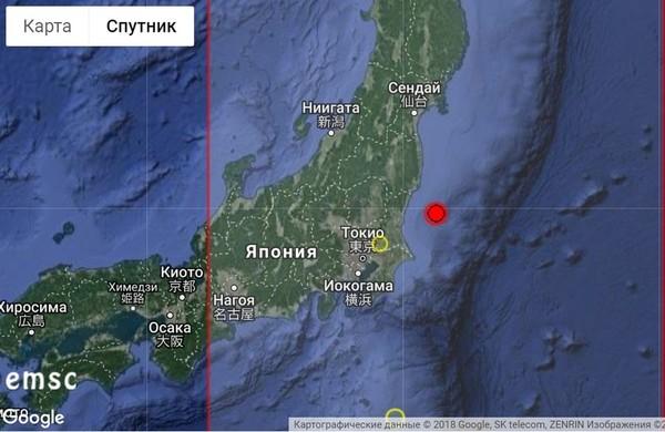 Крупное землетрясение в Японии